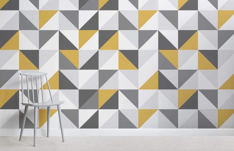 yellow-and-grey-abstract-geometric-design-room-wall-murals
