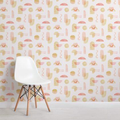 Yellow and Orange Watercolor Geometric Repeat Pattern Wallpaper Image