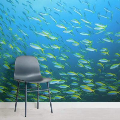 yellow-fish-school-underwater-square-wall-murals