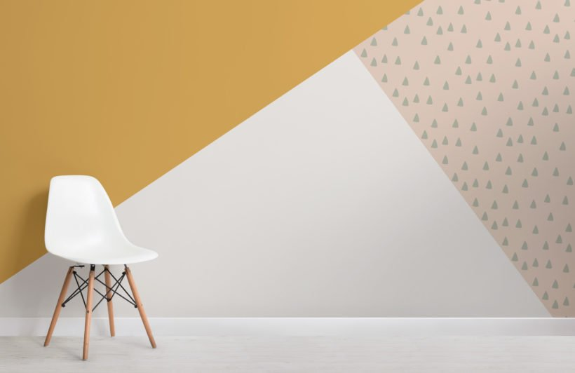 yellow and green triangle geometric prism wallpaper mural