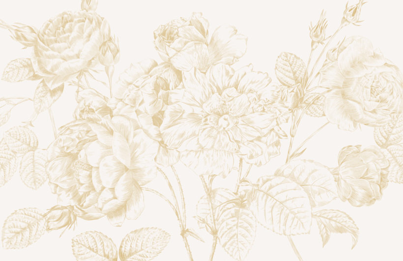 yellow large illustrated roses wallpaper mural