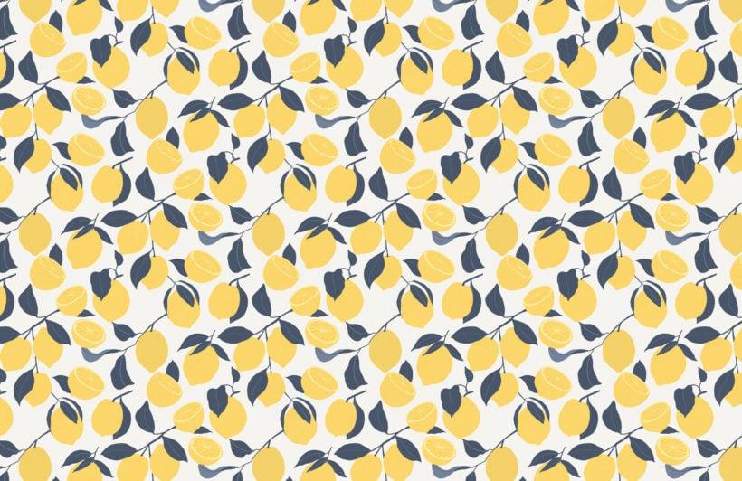 yellow lemon modern repeat pattern wallpaper