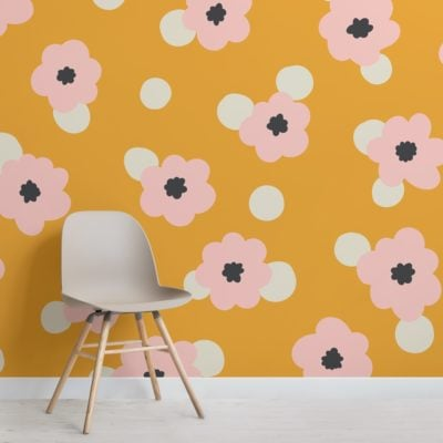yellow polka dot retro daisy floral wallpaper mural