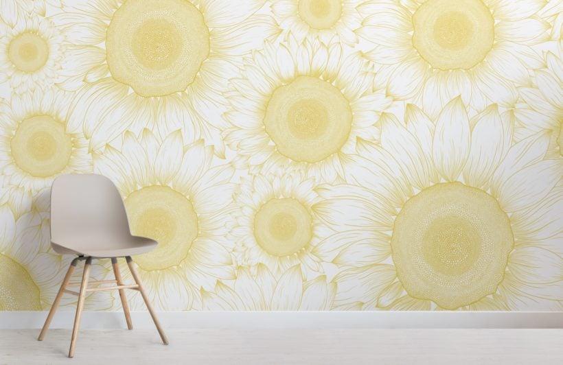 yellow sunflower etch floral wallpaper mural