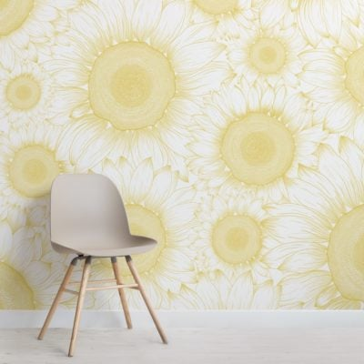 yellow sunflower etch floral wallpaper mural
