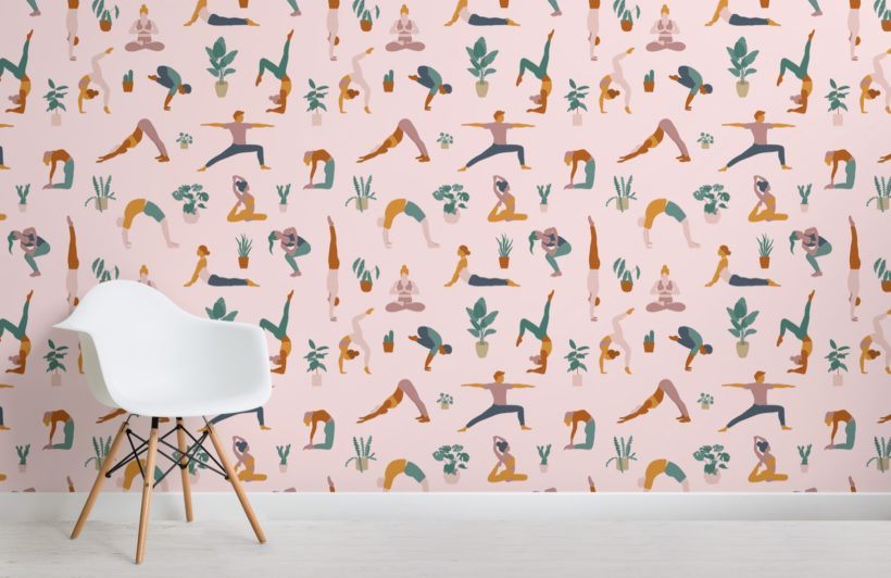 yoga poses and plants wallpaper mural